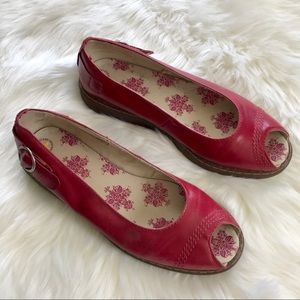 Dr martens pansy red peep toe flats shoes 11